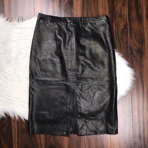 Banana Republic Black Leather Panel Pencil Skirt